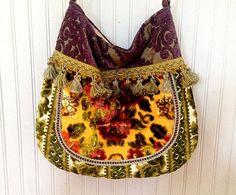 Large Boho Gypsy Floral Velvet Bag by Justbepurses on Etsy
