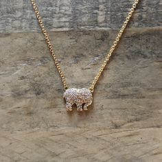 """Add Ivory Ella to any outfit with one of our charm necklaces! - 16"""" max. length - Brass charm - Cubic zirconia stones PORTION OF EACH SALE GOES DIRECTLY TO SAVETHEELEPHANTS.ORG"""