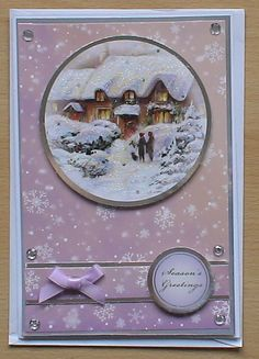 #hunkydory #createandcraft  Wasn't sure about the colours in this card, it has come together very well. The card is made using the Hunkydory 4 day deal christmas kit, i decorated with a bow and pearls from my crafty stash.