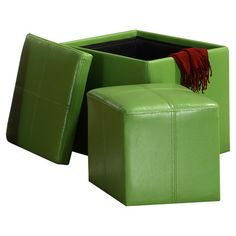 2-Piece Leah Storage Ottoman Set in Green at Joss & Main