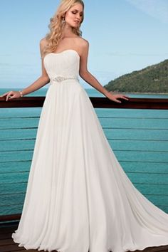 Chiffon Beach Wedding Dress casual Bridal Gown Evening Dress Deb Dress