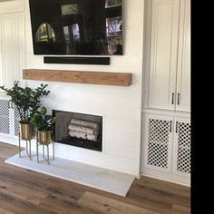 Image bar // Image bars // Floating shelves // Floating shelf // Book bar // Image bar // Photo bar // Wall bar Jennifer McFatter added a photo of the purchased item Wood Mantle Fireplace, Rustic Mantel, Brick Fireplace Makeover, Wood Mantels, White Fireplace, Farmhouse Fireplace, Fireplace Remodel, Fireplace Surrounds, Fireplace Design