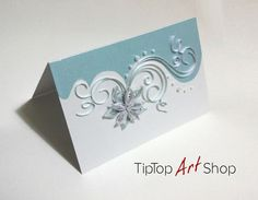 Quilled Christmas Handmade Greeting Card in Blue and White by TipTopArtShop
