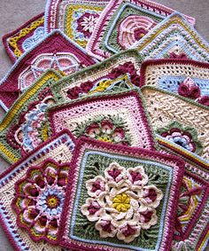Ravelry: dakotastamper's William Morris Swap (Pattern link for each square listed)