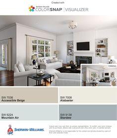 Accessible Beige - living, den, entry Mountain Air - kitchen, master bath Stardew - Master Alabaster - trim and cabinets