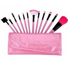 US Stock 12Pcs Soft Facial Cosmetics Set Powder Eyebrow Blusher Blending Eyeshadow PU Leather Bag Kit Makeup Brushes Tools  #Affiliate