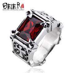 Beier 925 silver sterling jewelry 2015 punk rock bike super big Zircon cross man ring  D0630
