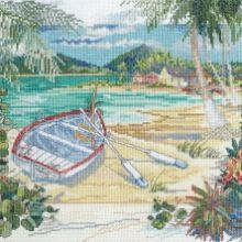Counted Cross Stitch Kit Bucilla Island Boat 28 count evenweave fabric Adapted from the work of Paul Brent Comes with : ~ 28 count ivory evenweave cross stitch fabric ~ cotton embroidery floss ~ color coded thread sorter ~ needle, chart Stitch size is x Cross Stitch Fabric, Cross Stitching, Cross Stitch Embroidery, Cross Stitch Patterns, Dimensions Cross Stitch, Cross Stitch Landscape, Needlework Shops, Counted Cross Stitch Kits, Beach Scenes