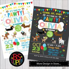 Puppy Party Invitation , Puppy Birthday Party , Puppy Party Invitation, Dog party, puppy birthday invitation by BSsuperclipart on Etsy https://www.etsy.com/listing/466151296/puppy-party-invitation-puppy-birthday