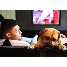 Alex Oxlade-Chamberlain and his puppy.