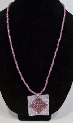 handmade pink beaded cross medallion pendant necklace #Handmade #Beaded