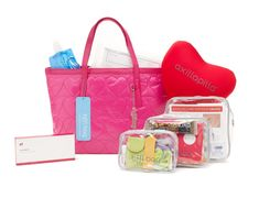 This breast surgery recovery kit is a bright pink quilted designer zip tote packed with everything needed for surgical recovery, such as: our specially-designed axillapilla® comfort pillow; wound a…