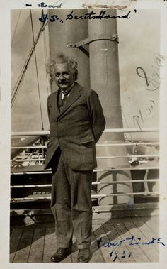 In 1933, Einstein travelled to the United States. | This is him on an earlier trip, aboard the SS Deutschland, in 1931.