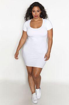 Rebdolls Essential Short Sleeve Scoop Neck Mini Dress - White - White