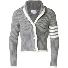Thom Browne 4-bar stripe cardigan ($1,000) ❤ liked on Polyvore featuring tops, cardigans, grey, striped top, slim fit cardigan, thom browne cardigan, short-sleeve cardigan and gray wool cardigan