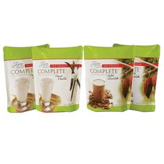 "Juice Plus+ Complete is a whole-food-based beverage mix that provides balanced nutrition in every scoop. Juice Plus+ Complete can be used in any number of ways: as a healthful ""on-the-go"" breakfast, pre-exercise energy drink, post-workout recovery drink, or a late night snack. This combo comes with two pouches each of delicious French Vanilla and Dutch Chocolate Complete flavors."