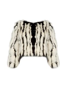 A brilliant mélange of fox and rabbit fur creates a striped effect on our Tierra Jacket. Glam-rock it up by stacking some rings, bracelets and/or necklaces.