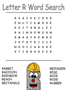 alphabet word search puzzles - letter r