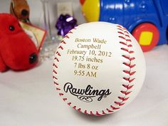 Personalized Engraved Baby Announcement Baseball Keepsake Gift Nursery Decor New Born. $15.99, via Etsy.
