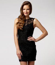 Lipsy Lace Low Back Dress in black