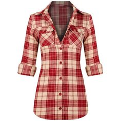 HOT FROM HOLLYWOOD Women's Long Sleeve Button Down Plaid Flannel Shirt ($20) ❤ liked on Polyvore featuring tops, long-sleeve shirt, red button down shirt, red flannel shirt, flannel shirt and plaid button-down shirts