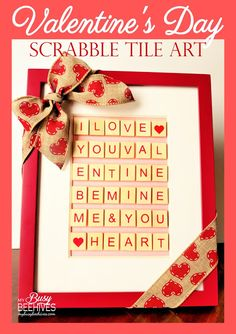 Valentine's Day Scrabble Tile Art, framed love-themed letter tiles.
