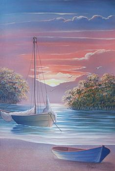 easy acrylic painting ideas for beginners on canvas Watercolor Landscape, Landscape Art, Landscape Paintings, Watercolor Art, Pictures To Paint, Art Pictures, Beautiful Paintings, Beautiful Landscapes, Boat Painting