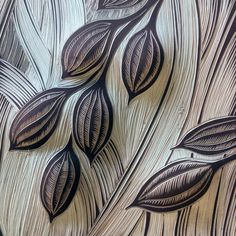 Hand carved rice seed pods onto porcelain tiles by Natalie Blake Studios
