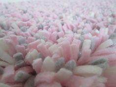 "Pink Shag Rug-Fleece--Girl Nursery Rug--Baby Girl Rug--Pink, Gray, Cream Shaggy Latch Hook Rug--Photo Prop; Crib Rug--15"" x 25"" Washable Rug on Etsy, $34.00"