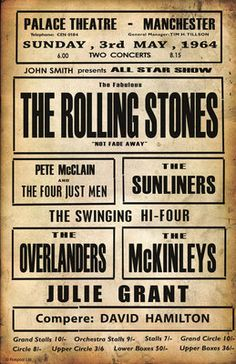 Rolling Stones Concert Poster - Sunday, May 1964