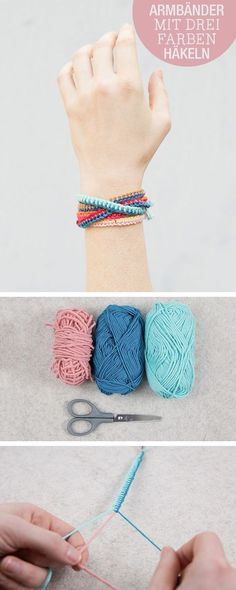 Diy anleitung freundschaftsarmbnder hkeln modeaccessoire schmuck fr dich und deine beste freundin diy tutorial crocheting friendship bracelets fashion accessory jewlery for you and your best friend via dawanda com rigid dragon Yarn Bracelets, Bracelet Crafts, Jewelry Crafts, Bracelet Box, Braclets Diy, Jewelry Ideas, Making Bracelets, Jewellery Bracelets, Colorful Bracelets