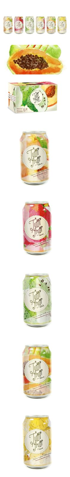 Jugos Tutti Frutti has beautiful fruit graphics on the packaging PD