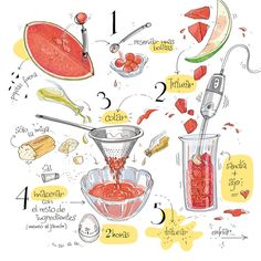 Recetasñetas (The Drawn Recipes Cookbook) by Alya Markova, via Behance