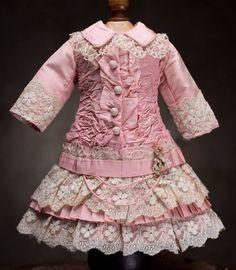 "Antique French Pink Silk Dress for Jumeau Bru Steiner Eden Bebe doll about 22-23"" (55-58 cm)"