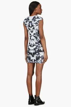 MCQ ALEXANDER MCQUEEN Grey Contoured Bird Print Dress