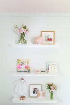 Nursery Shelving with Blush Ceiling