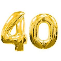 """Large Gold Number 40 Balloons (40"""")"""