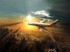 Emirates A380 Sunset