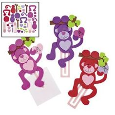 Amazon.com - Valentine Monkey Bookmark Craft Kit (Makes 12) - Crafts for Kids & Novelty Crafts - Arts And Crafts Supplies