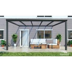 Gumax terrasoverkapping vooraanzicht 5.06m breed x 4m diep modern antraciet met glazen dak