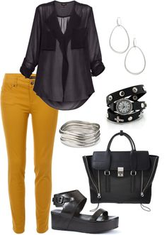 """""""Black and Yellow"""" by glamupslimdown on Polyvore"""