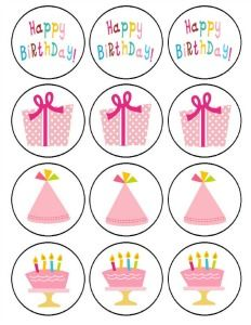 Free birthday party printables. Use these for cupcake toppers, gift tags, or party accents. Cute!
