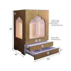 Designer Wooden Mandir with Doors / Pooja Mandir with Shutters and Jali - DecorPins