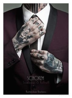 hoarse hair cutter and barber Suits And Tattoos, Tattoos 3d, Body Art Tattoos, Hand Tattoos, Tatoos, Daddy Aesthetic, Album Design, Sharp Dressed Man, Schneider