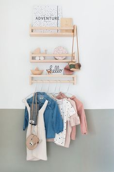 Ikea spice rack still cutest and least expensive styling for a little wall! Love the half wall paint too. Baby Room Decor, Nursery Room, Girl Room, Kids Bedroom, Kids Rooms, Half Painted Walls, Half Walls, Montessori Ikea, Fantasy Bedroom