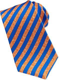 Kiton Satin-Stripe Silk Tie, Orange/Blue on shopstyle.com