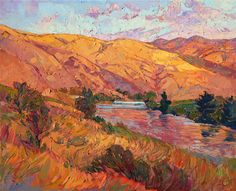 Idyllic countryside oil painting landscape for sale by Erin Hanson