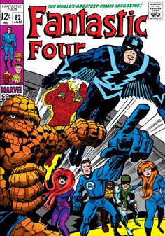 Cover art of Fantastic Four issue no. featuring members of both the Fantastic Four as well as the Inhumans, published by Marvel Comics, United States, by Jack Kirby. Marvel Comics, Marvel E Dc, Marvel Comic Books, Comic Books Art, Comic Art, Silver Age Comics, Stan Lee, Caricature, Fantastic Four