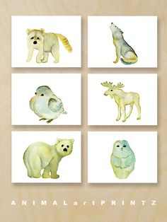 More woodland woods forest wall art prints are here... https://www.etsy.com/shop/ANIMALARTPRINTZ?ref=listing-shop2-all-items-count&search_query=woodland   A print set of six sweet woodland forest animals in a soft pastel palette ... an owl, a wolf, a bear, a moose, a raccoon and a baby bird.  You will receive one of each image in the photos as an archival print of my original handmade watercolor art. Feel free to choose which size prints suit you best from th...