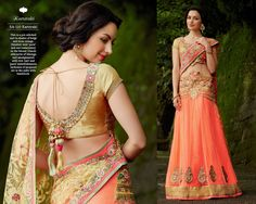 This is a pre-stitched sari in shades of beige and neon orange. Detailed, bold 'parsi' and zari embroidery on the blouse. Classic silhouette of lehenga sari amalgamated with rich 'zari' and 'parsi' embellishments. Inclusion of jacquard net at the pallu.